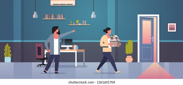 female boss dismisses pointing finger at door fired woman employee with paper documents box dismissal unemployment jobless concept flat modern office interior horizontal