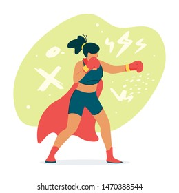 Female boxer, fighter in cape flat vector illustration. Woman, kickboxer punching pose cartoon concept. Martial arts, self-defence training character. Women empowerment, feminism metaphor
