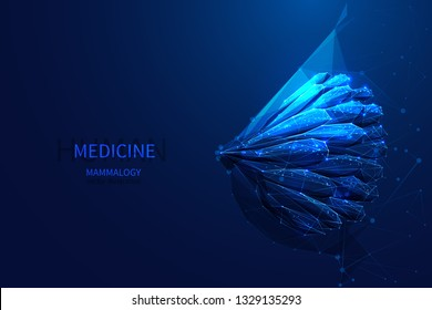 Female breast anatomy low poly wireframe blue. Mammalogy medicine vector concept. Starry sky or cosmos style.