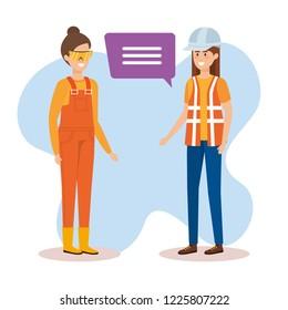 female builders talking characters