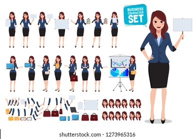 Female business character vector set. Office woman talking and holding blank white board and placard with various posture and gestures for business presentation. Vector illustration.