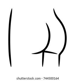 Female buttocks, butt or ass line art vector icon for apps and websites