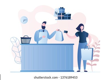 Female buyer and a male seller in a store, payment by card,shopping bags in hands and gifts with sale label,seller character behind the counter,trendy style vector illustration