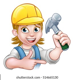 A female carpenter handy woman carpenter cartoon character holding a hammer and pointing