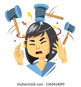 female cartoon character getting headache illustration with hammer hitting her head