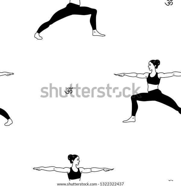 Female Cartoon Characters Yoga Position Pattern Stock Vector Royalty Free 1322322437