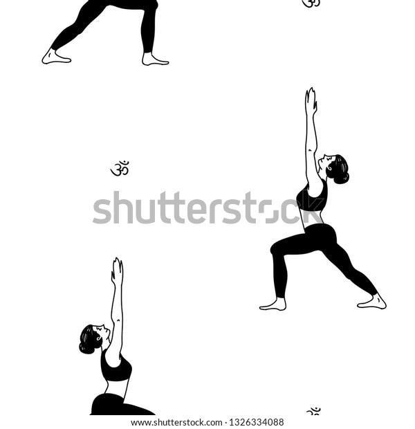 Female Cartoon Characters Yoga Position Pattern Stock Vector Royalty Free 1326334088