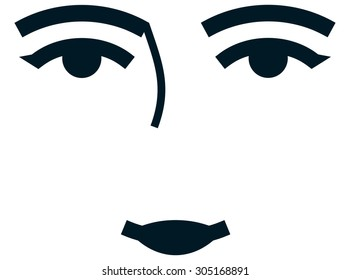 Female caucasian woman face eyes lips nose isolated illustration