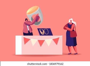 Female Character Choose Bijouterie on Market. Woman Seller Hold Huge Ring with Amber at Booth, Sell Jewelry and Necklaces Made of Beads and Gems, Handmade Craft. Cartoon People Vector Illustration