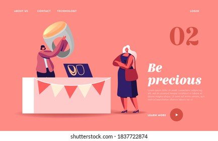 Female Character Choose Bijouterie on Market Landing Page Template. Woman Seller Hold Huge Ring with Amber at Booth, Sell Jewelry of Beads and Gems, Handmade Craft. Cartoon People Vector Illustration