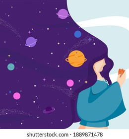 Female Character With Flowing Hair And Outer Space Or Dream Universe Background.