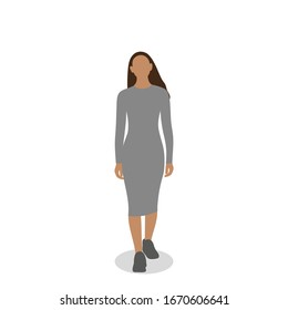Female character going forward on a white background