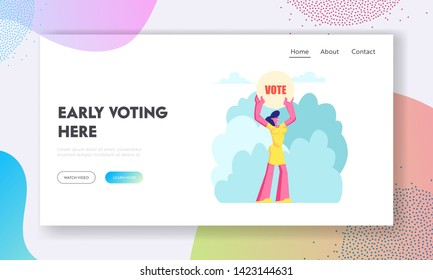 Female Character Holding Vote Banner in Hands, Law-abiding Citizen Execute Rights and Duties in Political Life of Country Website Landing Page, Web Page. Cartoon Flat Vector Illustration, Banner
