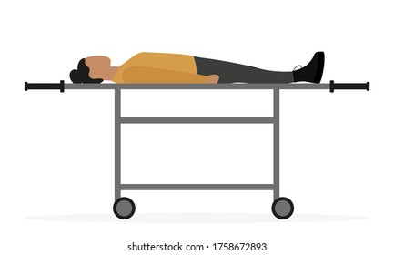 Female character lies on a medical wheeled stretcher