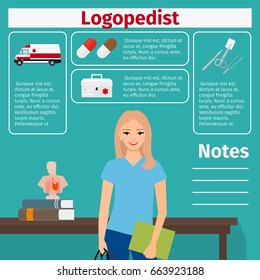 Female character of logopedist and medical equipment icons with infographics elements for medical and pharmaceutical industry