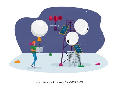 Female Character with Meteorology Probe Air Balloon on Meteo Station. Research, Probing, Monitoring Hurricane. Satellite Measurement of Earth Weather Parameters Radiosonde. Cartoon Vector Illustration