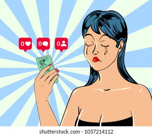 Female character with mobile phone in hand in comic book style. Vector illustration.