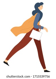 Female character in motion, isolated woman wearing stylish and fashionable clothes walking. Strolling lady carrying handbag, successful and confident girl or businesswoman, vector in flat style