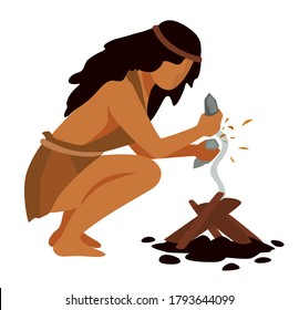 Female character from prehistoric era making fire with rocks. Woman using spark to get flame. Stone age and survival of ancient people. Homo sapiens by bonfire, ancestral vector in flat style