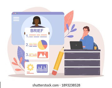 Female character is providing client brief for employees. Client is giving instructions for new project. Male character is sitting and working on laptop next to brief. Flat cartoon vector illustration
