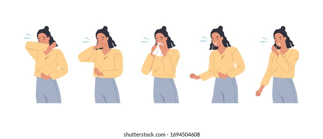 Female character sneezing and coughing right and wrong. Woman coughing in arm, elbow, tissue. Prevention against virus and infection. Vector illustration in a flat style