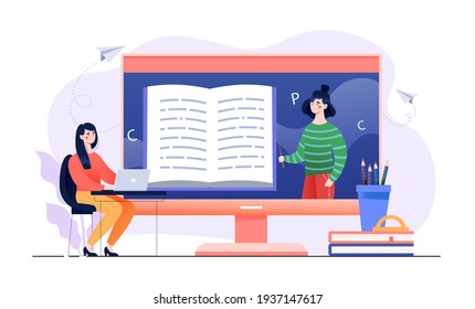 Female character studying remotely in online school. Online workshop, online topic course, distance web learning. Girl sitting with laptop and big screen with teacher. Flat cartoon vector illustration