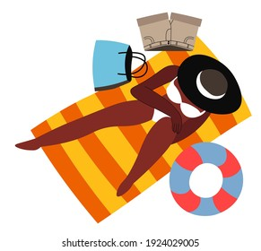 Female character sunbathing and tanning laying on blanket with lifebuoy, shorts and bag. Isolated personage sitting and relaxing. Summertime leisure and weekends in summers. Vector in flat style
