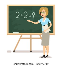 Female character teacher stands near the blackboard in the classroom.Vector concept of school education and coaching