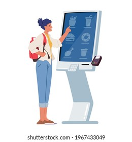 Female Character Use Self Ordering Food Service in Restaurant or Fastfood Cafe. Woman Choose Meals on Digital Interactive Device Screen to Make Order, Modern Technologies. Cartoon Vector Illustration