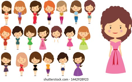 Female character vector, Girl character with 20 dresses and 10 hairstyle, custom avatars