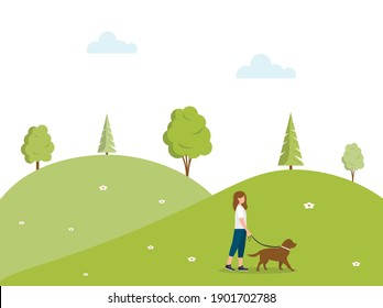 Female character walks the dog. Spring or summer landscape. Walk in nature. Walking the dogs. A young woman or teenager walks the dog. Active rest in the park. Vector illustration in a flat style.