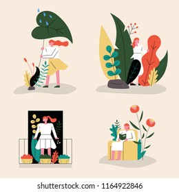 Female characters decorated with various flowers and leaves. flat design style vector graphic illustration set