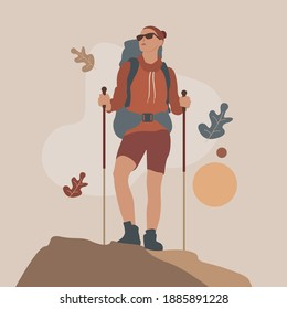 Female characters with trekking poles goes to the mountains. Active women with backpacks hiking, exploring wild nature, trekking. Flat cartoon vector illustration.