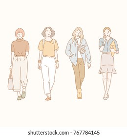 Female characters walking down the street in a stylish fashion. hand drawn style vector doodle design illustrations.