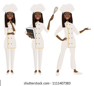 Female chef in three poses.