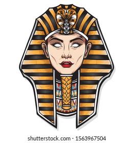 female cleopatra vector logo illustration