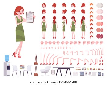 Female clerk character creation set. Woman on administrative work, office employee. Full length, different views, emotions, gestures. Build your own design. Cartoon flat style infographic illustration