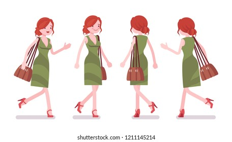 Female clerk walking and running. Young woman, employee busy with message delivery, on errands, hurry at work. Business and office jobs concept. Vector flat style cartoon illustration, front and rear