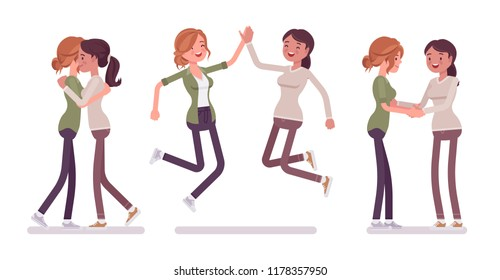 Female close friends meeting, greeting. Happy women giving a hug, high five, handshake. Social manners, etiquette concept. Vector flat style cartoon illustration isolated, white background