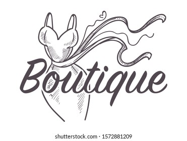Female clothes shop or fashion store isolated sketch icon vector. Dress with belt, womens wear, boutique hand drawn emblem or logo and lettering. Cocktail gown, shopping and tailoring, couture outfits