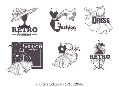 Female clothes shop or fashion store isolated sketch icons vector. Dresses and skirt, dummy or mannequin and hat, womens wear, boutique emblem or logo. Cocktail gown, shopping and tailoring, couture