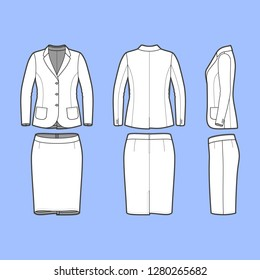 Female clothing set. Blank template of classic blazer and pencil skirt in front, back and side views. Casual style. Workwear suit. Vector illustration for your fashion design.