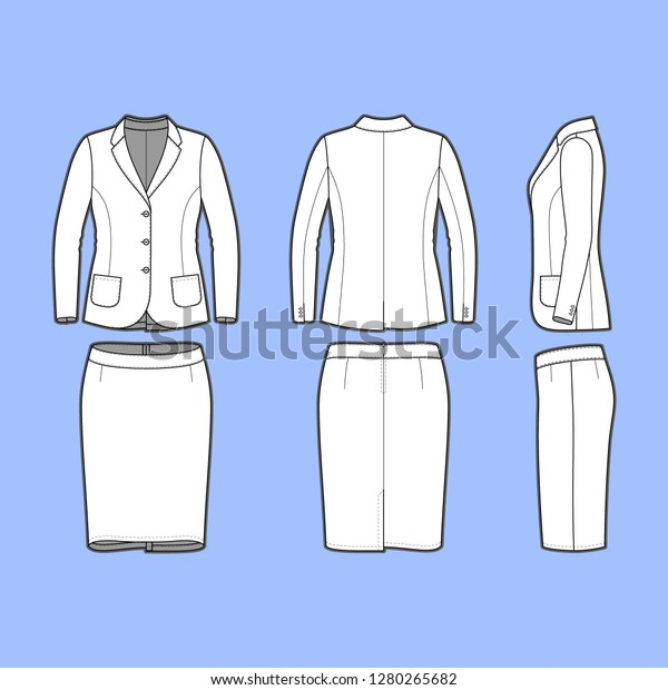 Female Clothing Set Blank Template Classic Stock Vector Royalty Free 1280265682