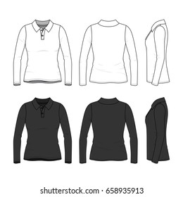 Female clothing set in white and black colors. Front, back and side views of polo shirt with long sleeves. Blank vector templates. Fashion illustration.