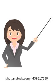 Female company employee with a pointing stick