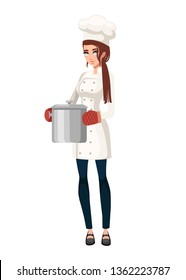 Female cook with oven mitt holds steel cooking pot. Women in white uniform. Cartoon character design. Flat vector illustration isolated on white background.