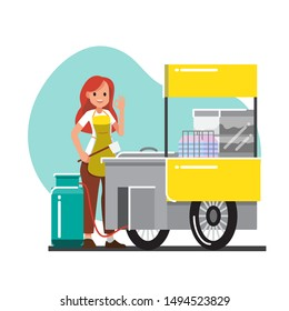 female cook and Trolley noodle  cafe and shop counter with street food fast food ,vector cartoon character