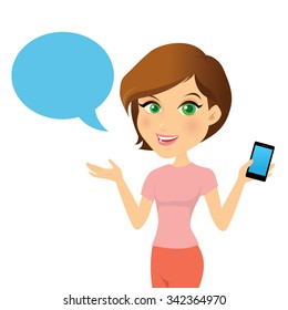 Female customer support operator with smart phone and smiling, Character design cartoon version.