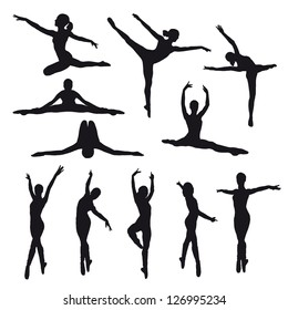 Female dancers vector silhouettes on white background. Fully editable.
