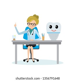 Female dantist doctor and cute tooth implant,health care concept,flat vector illustration